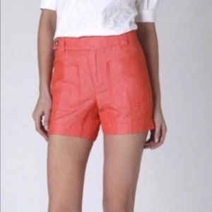 Anthropologie Orange Linen Blend Shorts